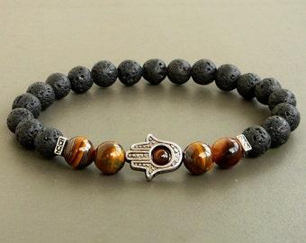 Hamsa Bracelet Black Lava Buddha Bracelet men lava bracelet, Hamsa Mens Bracelet, Hamsa Lava Men Bracelet, Black Lava Rock Bracelet, Buddha