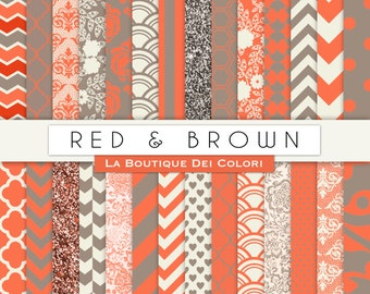 Red and brown Digital Paper. Digital red and gray paper, Scrapbooklng paper patterns, Instant Download for Commercial Use