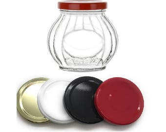 1 pc 10 oz Faceted Glass Jars