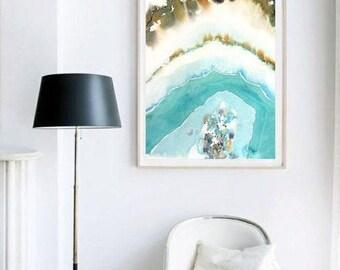 Agate Slice Art, Gem, Mineral Art, Boho Painting, Agate Print, Teal Green Agate Wall Art,  Geode Painting, Geode Art, Agate Watercolor, Rust