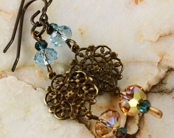Blue Sky Yellow Sun Swarovski Earrings Artisan Natural Brass Fashion Elegant Earrings Filigree Charms
