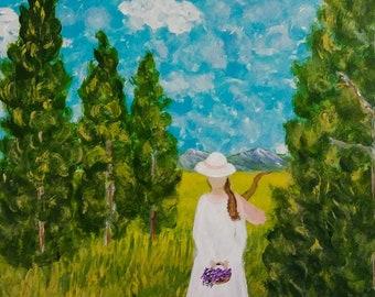 Lady in the Field - 6 x 6