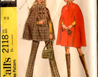 McCall's 2118  Misses' And Junior Cape in tel lengths And Pants  Size 12 Bust 34""