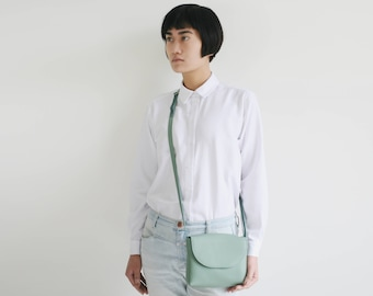 Minimalistic cross body bag sage green leather, small satchel bag, small handbag, leather purse, bridal bag