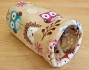 Plush Pipe Pet Bed - reversible fleece tube tunnel bed for degus, rats, sugar gliders - cosy pet bed, cuddle bed.