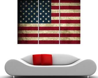 "3 Panel Split Art American Flag Vintage Canvas Print, World flag 1.5"" deep frames,Triptych, art for home/office wall decor & interior design"
