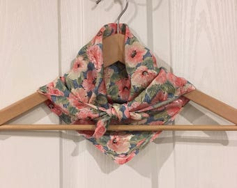 Vintage Japanese scarf in soft pink and blue poppies, florals with satin sheen, made in Japan