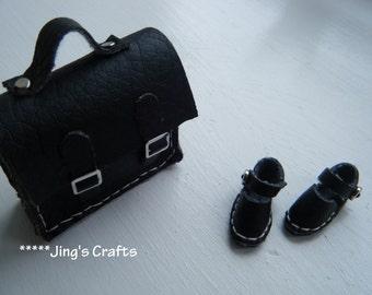 MOMOKO black leather school bag by Jing's Crafts