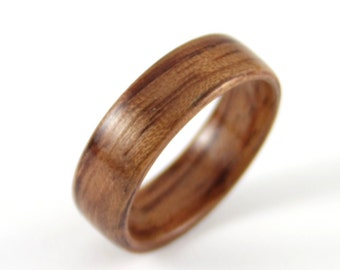 Wooden Wedding Band Handmade from Bubinga Wood