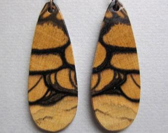 Rare Black White Ebony Earrings, Exotic Wood Handmade Ecofriendly repurposed ExoticwoodjewelryAnd