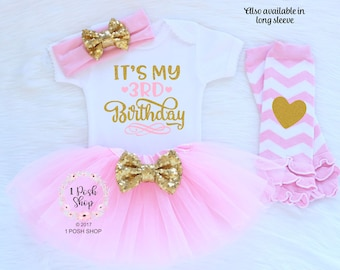 Third Birthday Outfit Girl, 3rd Birthday Outfit Girl, Three Birthday Outfit, It's My 3rd Birthday, 3 Birthday Shirt, Birthday Outfit BT9