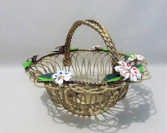 Vintage storage basket decorated with painted flowers and leaves - Gold tone metal - Gift men woman kitchen hall office shop decoration