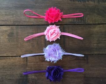 ON SALE Baby Girl 4 pack Headband Starter Kit, Girly Girl Set in Purple, Lavender, Light and Hot pink, Little Girl Hair Accessories