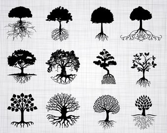 Tree With Roots SVG Bundle, Tree Roots SVG, Clipart, Cut Files For Silhouette, Files for Cricut, Vector, Tree Svg, Roots SVG, Dxf, Png Decal