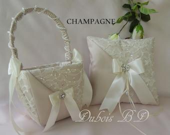 Wedding ring bearer pillow and Flower girl basket 2 pc set, Champagne, Ivory or White ring bearer pillow, Lace ring pillow, Sash ring pillow