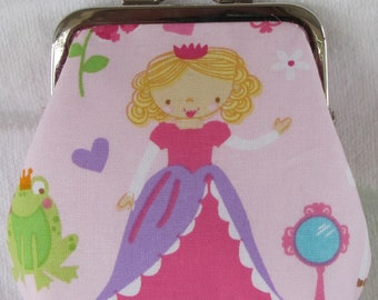 Pink Princess Nickel Kiss Clasp Coin Purse