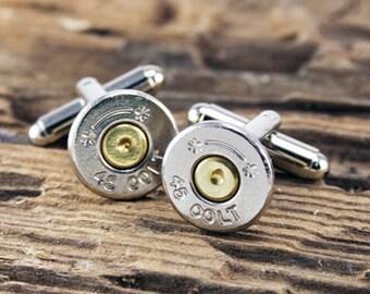 Bullet Cufflinks, Starline 45 Colt Nickel Bullet Cufflinks, Wedding Cufflinks, Groom Gifts, Groomsmen Gifts, Bullet Cuff Links