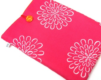 Sale, iPad Sleeve, iPad Cover, Padded iPad Case, White Flowers on Pink and Orange