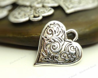 8 Heart Charms ( Double Sided ) 16x15mm Antique Silver Tone Metal - BC17