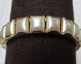 Vintage  Victorian revival  60's faux pearl engraved link bracelet estate find bridal wedding prom