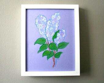 Original Art, Lilacs, Gouache Painting