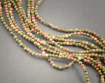 Wire 40cms unakite, 125 beads 3mm approx • unakite, veins and inclusions • natural colors