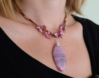 Leather Necklace With Marquise Shape Rhodonite & Sterling Silver