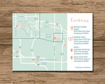 Custom Wedding Map, Event Map, Directions, Locations, Zoom-in - PRINTABLE file - Enclosure Card, Invitation Insert with a map