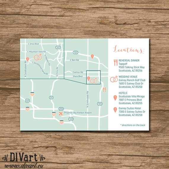 Custom wedding map event map directions locations zoom in custom wedding map event map directions locations zoom in printable file enclosure card invitation insert with a map stopboris Choice Image