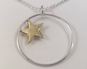 Silver and Brass Star Pendant; handmade, mixed metal jewellery