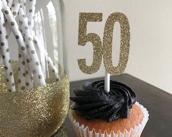 50th Anniversary Party, 50th Cupcake Toppers, 50th Birthday Cupcake Toppers, 50th Decorations, 50th Cupcake Toppers, Gold Glitter 50
