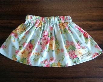 Girls skirt, Girls Blue Rose Gathered Waist Skirt