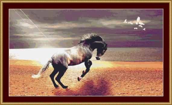 Horse On The Beach Cross Stitch Pattern /Digital PDF Files /Instant downloadable