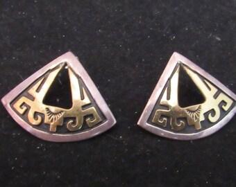 T Singer Signed Sterling Silver 14k Gold Southwest Native Style Earrings