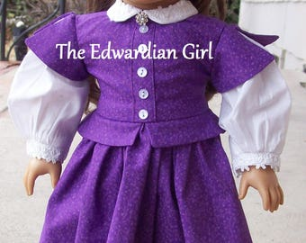 OOAK ultra violet purple and white 1860's era doll dress for 18 inch play dolls such as American Girl, Springfield, OG. Made in USA