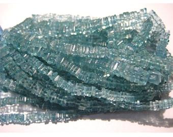 Blue Apatite - Apatite Square Heishi Beads - 4mm Gemstone Beads - Wholesale Beads - 8 Inch Half Strand