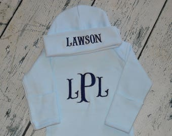 Monogrammed Baby Blue Gown and cap, Newborn Take Home Outfit, Boys Coming home Outfit