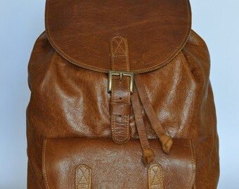 Tan Genuine Leather Backpack Half price sale.