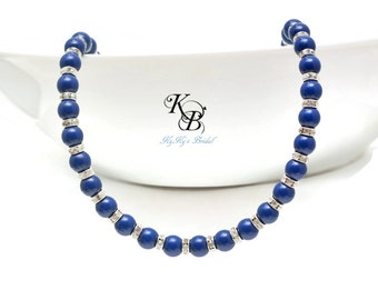 Something Blue Necklace ~ Blue Pearl Necklace ~ Blue Lapis Necklace ~ Something Blue Jewelry ~ Bridal Jewelry ~ Bridesmaid Jewelry