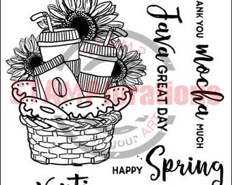 Bloomin' Spring Coffee Basket  clear stamp set 4x4 STAMPlorations