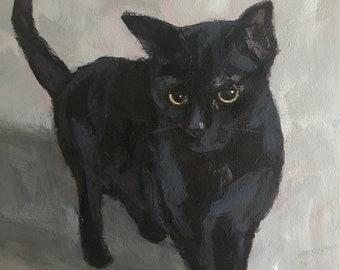 Olive No. 20 - 10x8 inch Original Black Cat Painting