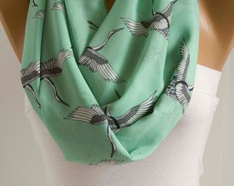 Stork Mint Infinity Scarf Bird Animal Scarf Loop Scarf Oversized Shawl Scarf Winter Spring Summer Scarf Fashion Women Accessories ForHer