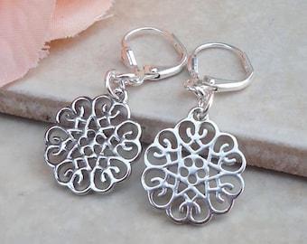 Tiny Metal Earrings.Filigree Earrings.Moroccan.Silver.Drop.Statement.Modern.Bridal.Dainty Earrings.Small.Boho.Floral.Delicate.Handmade.
