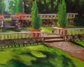 Morning on the Terrace | Original Plein Air Oil Painting