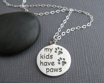 sterling silver paw print necklace my kids have paws 2 two etched pet pride pendant animal love charm simple pawprint dog cat jewelry 5/8""