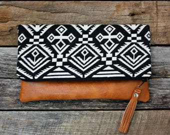 Black Bohemian tribal Foldover Clutch