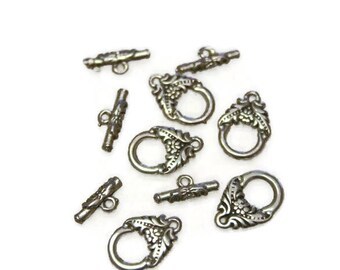 5 X silver plated toggle clasps