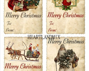 EIGHT Vintage Look Christmas TAGS Digital Image Download Printable