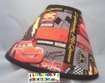 Disney Cars Lightning McQueen Fabric Lamp Shade (10 Sizes To Choose From)