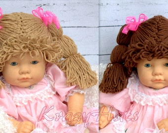 Cabbage Patch Wig/Hat.Crochet cabbage patch hat.